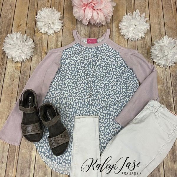 Lavender Grey Leopard LS Cold Shoulder Top