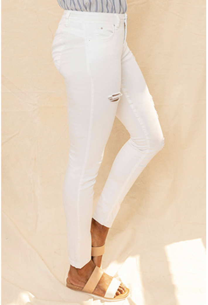 WBB Distressed White Jeans