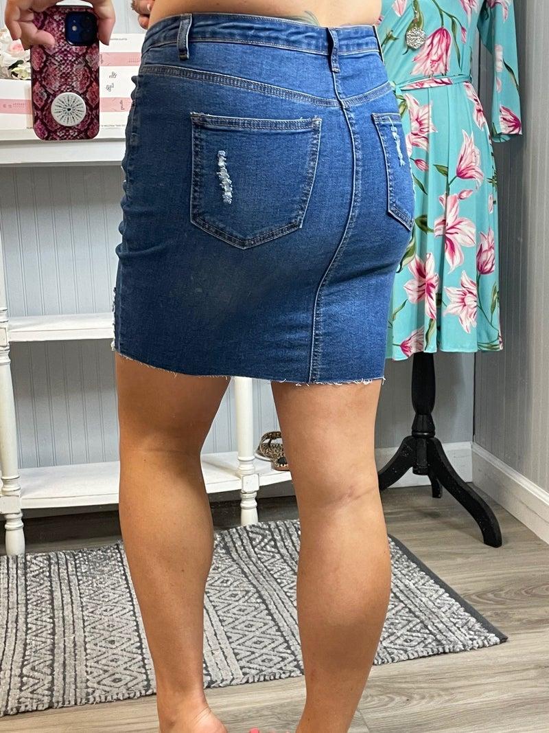 WX Distressed Denim Skirt
