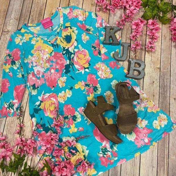 HM Mint Pink Floral Criss Cross Dress