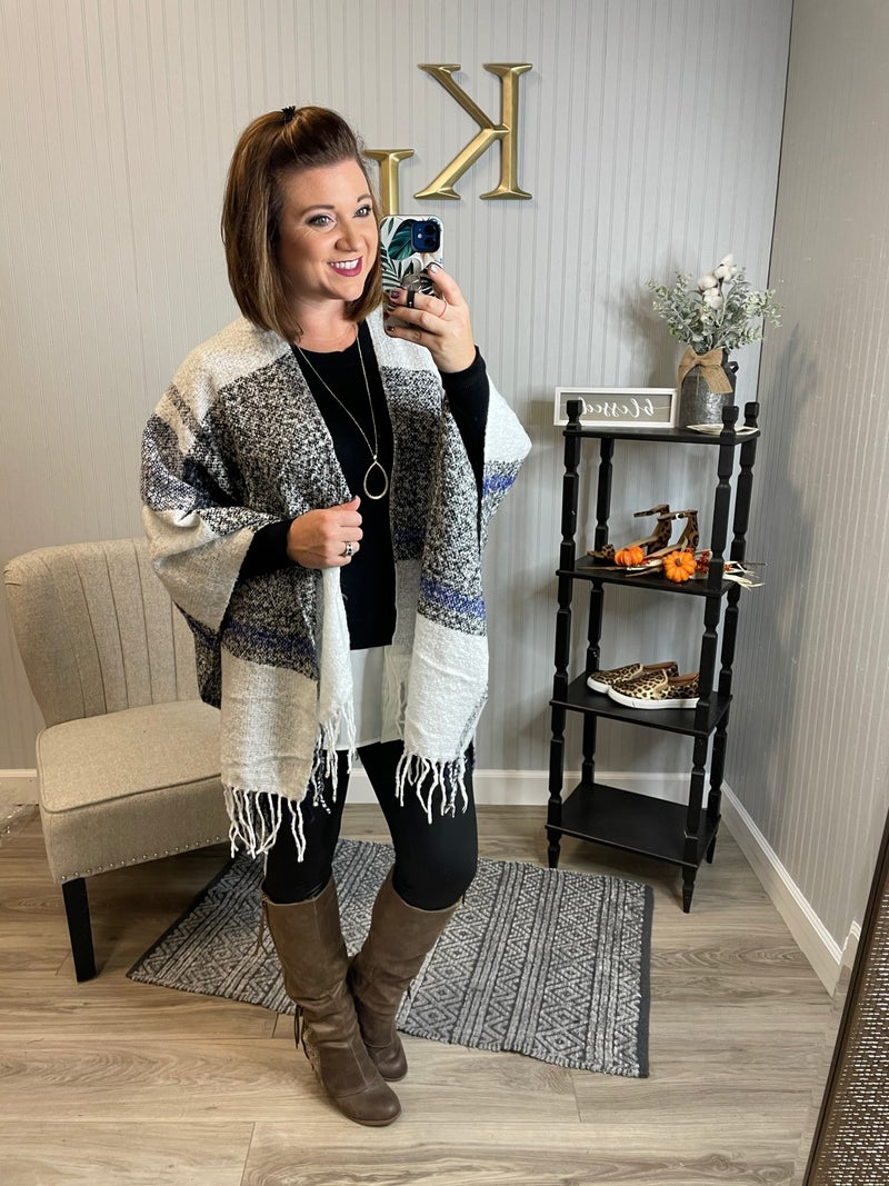 Ivory Navy Fringe Plaid Cape