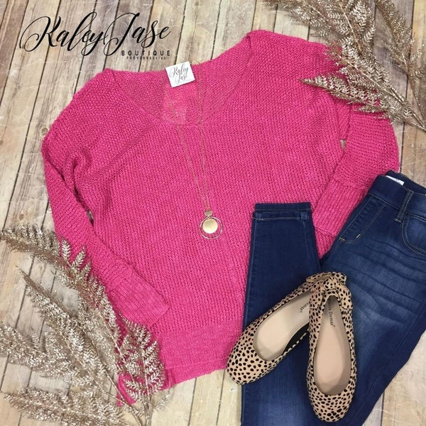 Fuchsia Hi Low Ribbed Slouchy Sweater