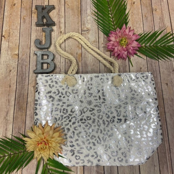 Silver Metallic Leopard Beach Bag