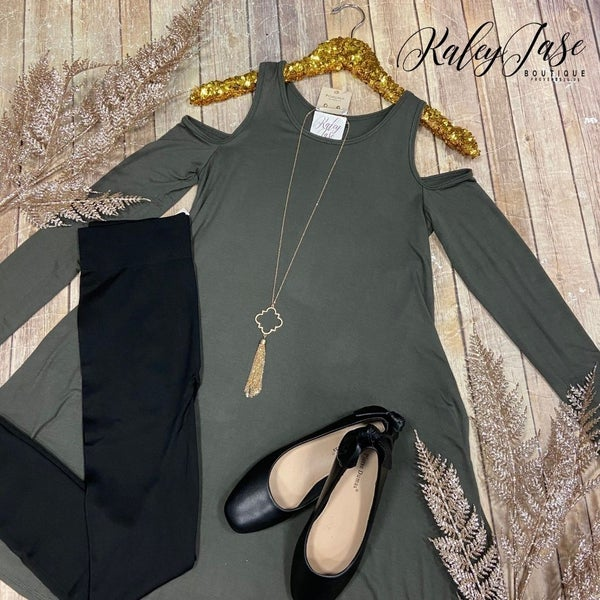 Olive Open Shoulder Swing Dress