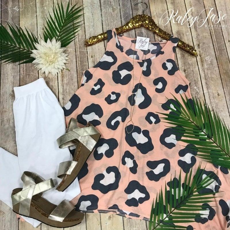 Peach Leopard Tunic Top