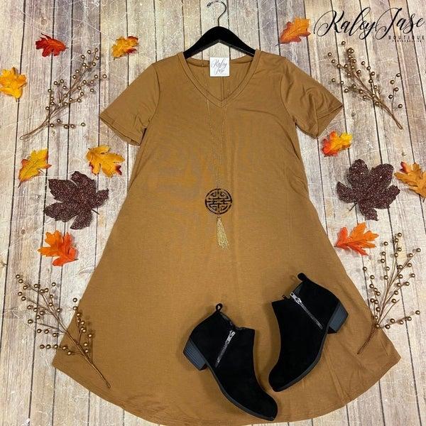 V-Neck Short Sleeve Dress
