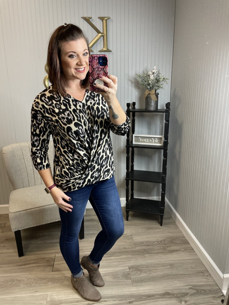 Cream Sleek Leopard Dressy Draped Top