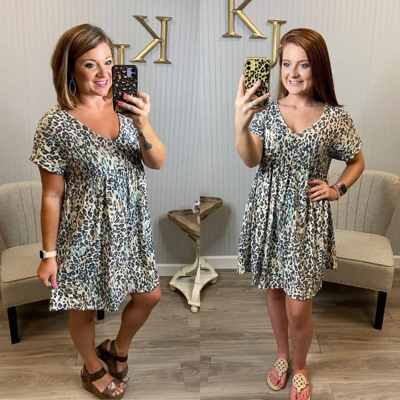 Teal Oatmeal V Leopard Dress