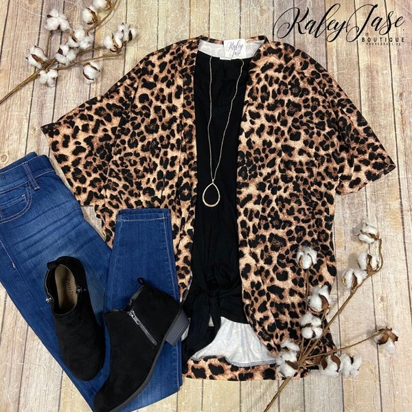 Soft Brown Leopard Draped Cardigan