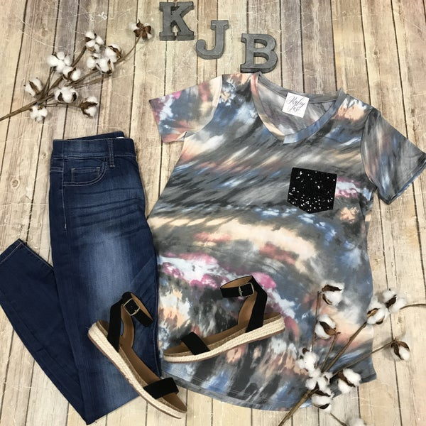Grey Multi Tie Dye Sequin Pocket Top