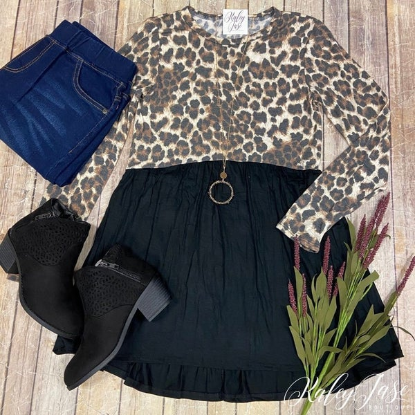 Black Half Leopard Top