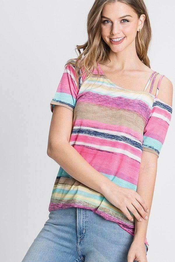 Multi Colored Striped Strappy Top