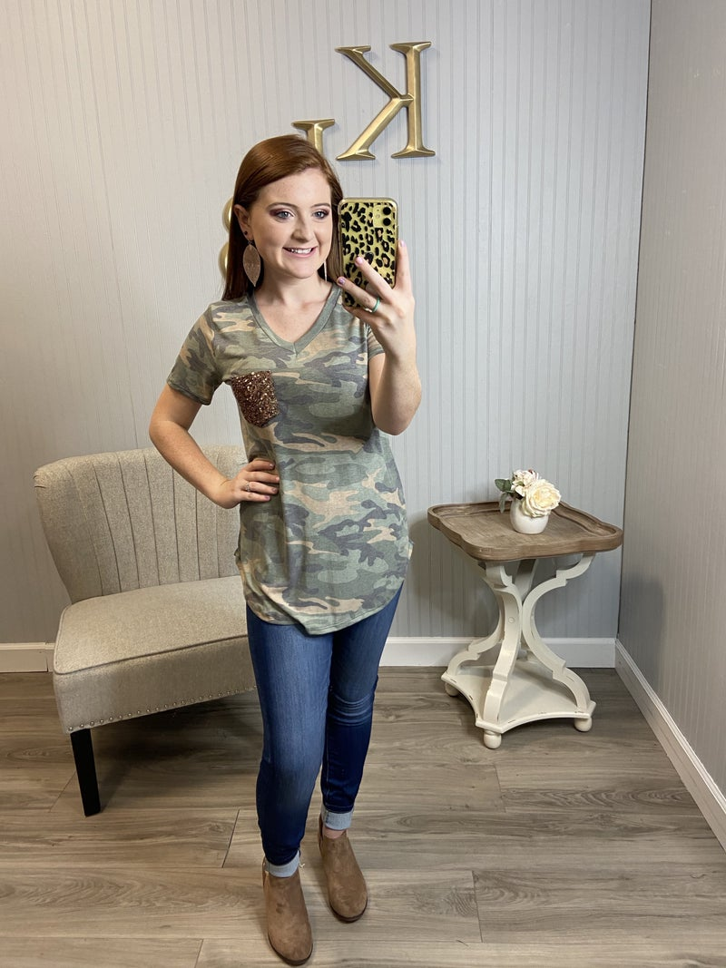 Faded Camo Sequin Pocket Vneck