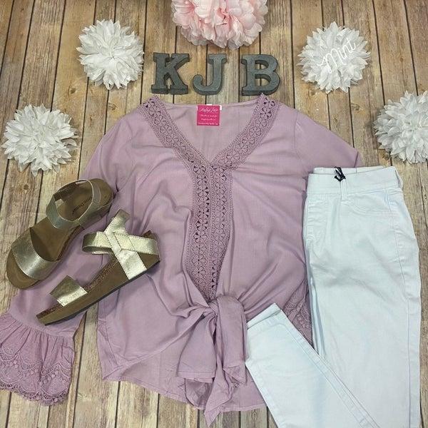 Deal Lavender Crochet Detail  Bell Sleeve Tie Top