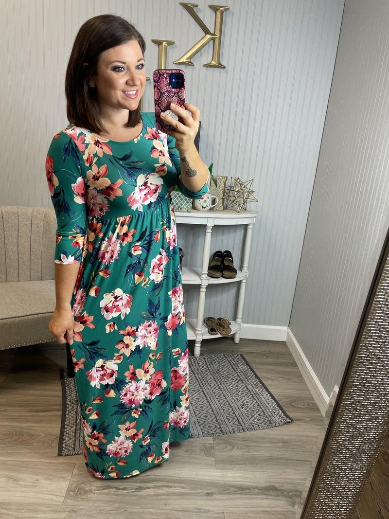 PR Green Floral Maxi