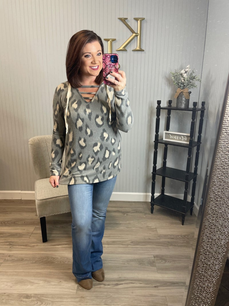 SIL Charcoal Leopard Ladder Hoodie