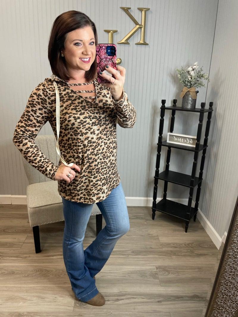 SIL Tan Leopard Ladder Hoodie