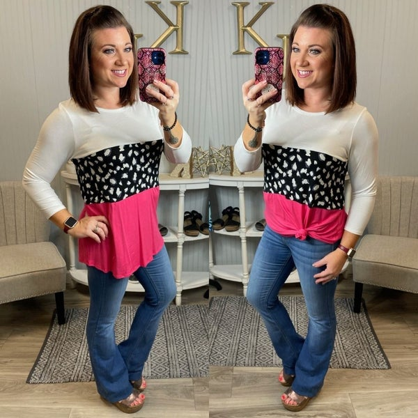 HM Ivory Rose Black Colorblock Spotted Top