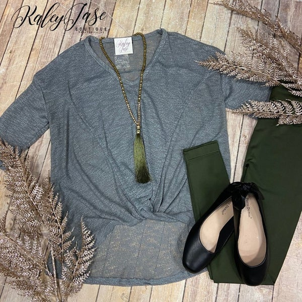 Steel Gray Twist Front Top *Final Sale*