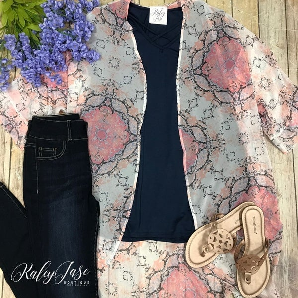 Pink Medallion Printed Kimono Set (TOP SOLD SEPARATELY)
