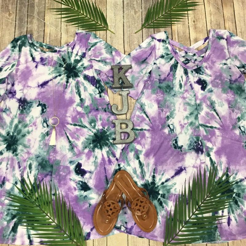 Lilac Tie Dye Criss Cross Dress