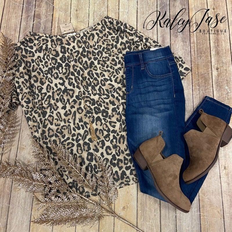 Tan Black Leopard Slouchy Top