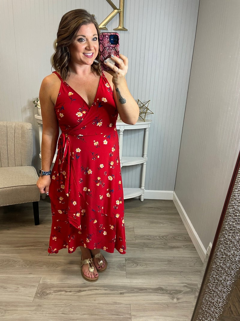 Deal Flower Dressy Spaghetti Ruffle Dress