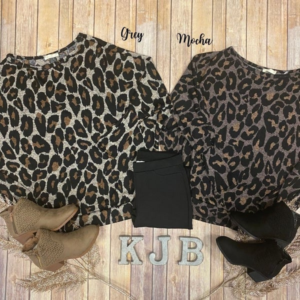 Leopard Knit Dolman Top