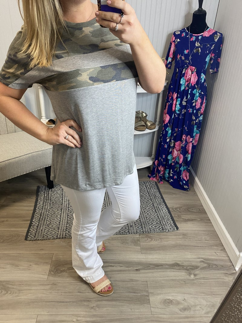 Heather Front Camo Stripe Top