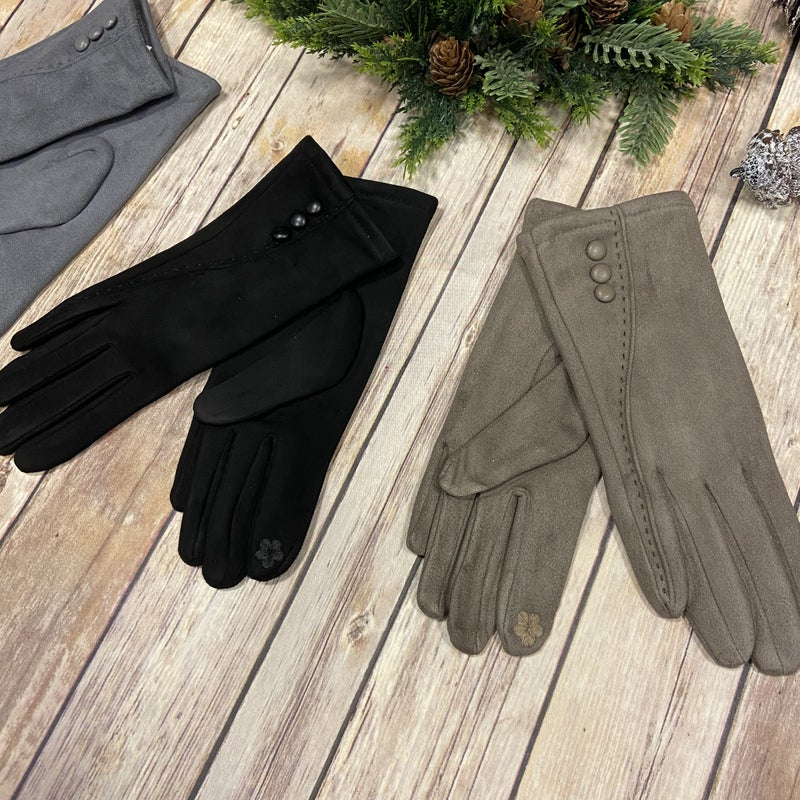 Suede Touchscreen Threaded Button Gloves