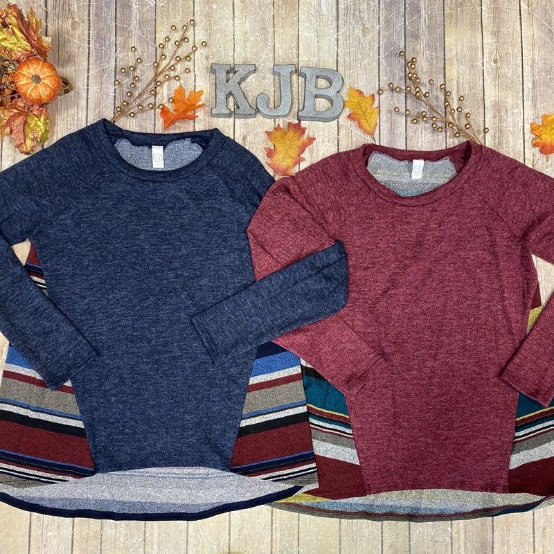 Stripe Back Knit  Top