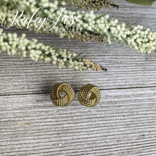 Gold Large Braided Knot Earrings -F3