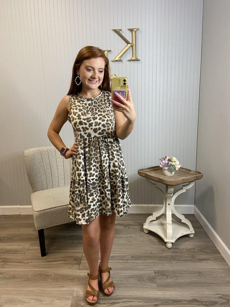 Leopard Tiered  Sleeveless Dress