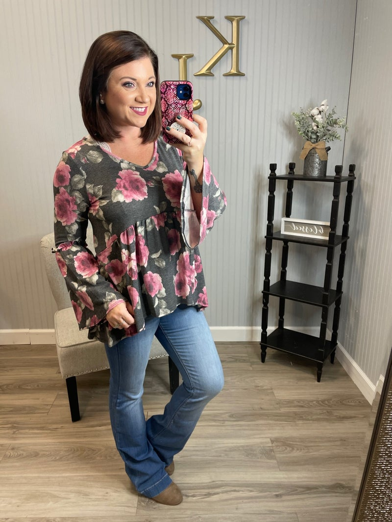 SIL Charcoal Rose Floral Bell Sleeve Top *Final Sale*
