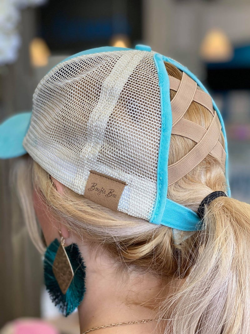 Mint Boujie Bee Criss Cross Hat