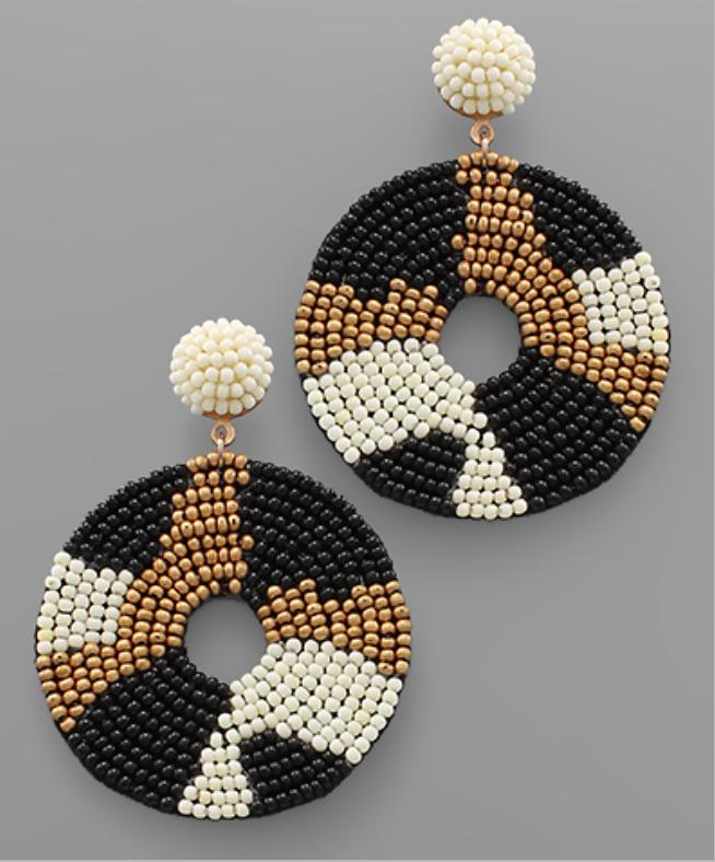 Beaded Neutral Circle Earrings