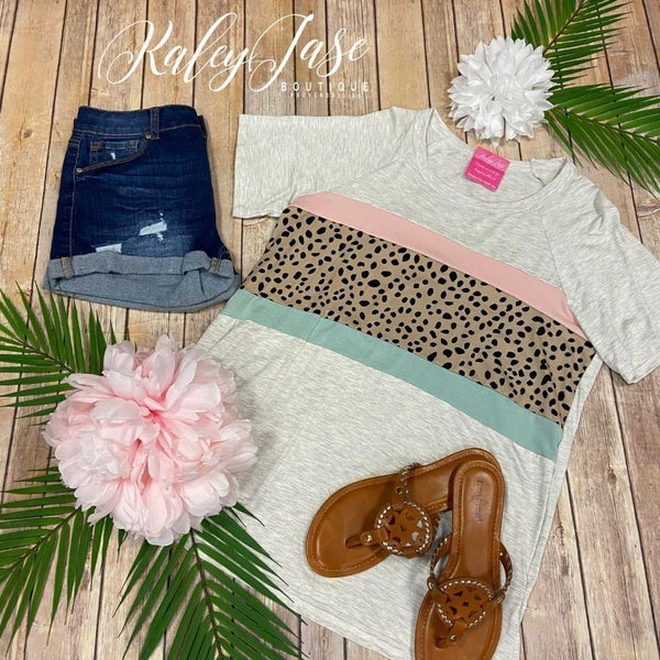 VB Heather Blush Sage Speckle Colorblock Top