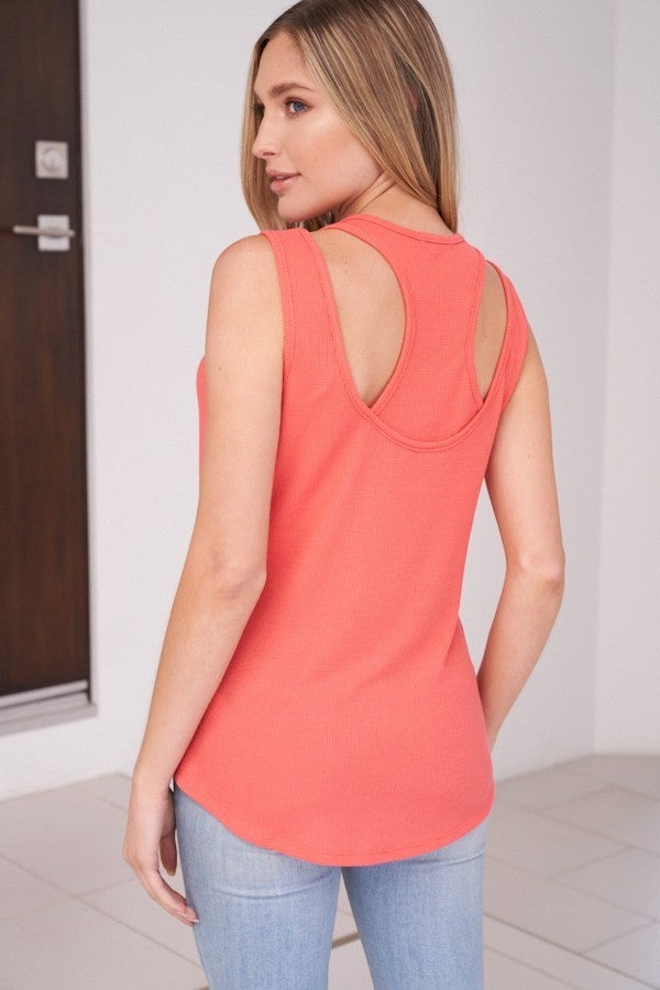 Coral Ribbed Racer Detail Back Tank