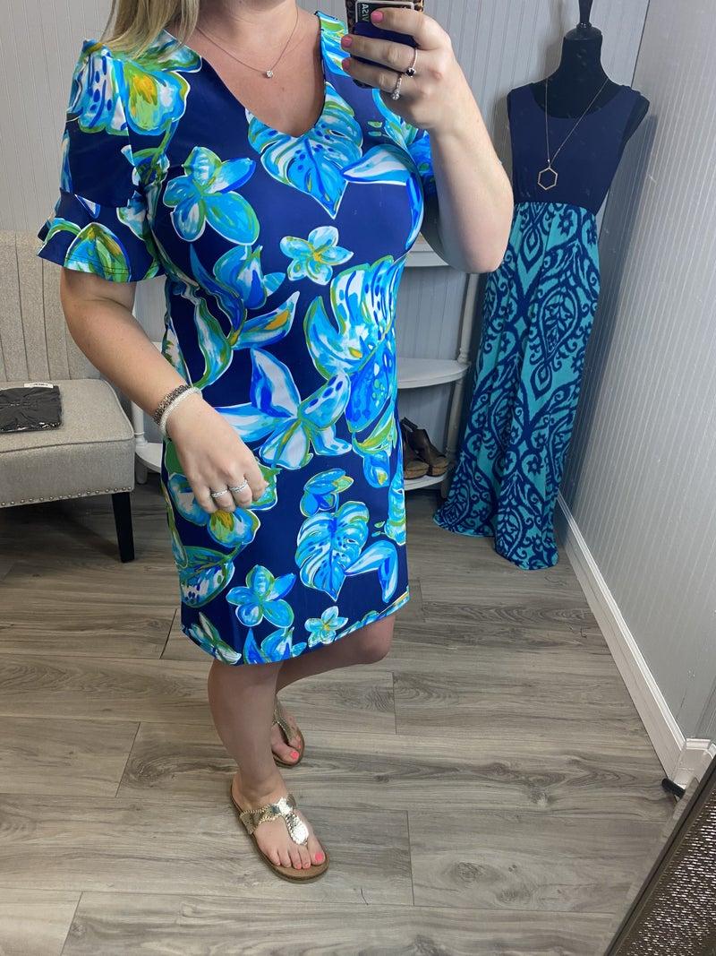 Aryeh Teal Green Lily Palm Brynn Ruffle Sleeve Dress