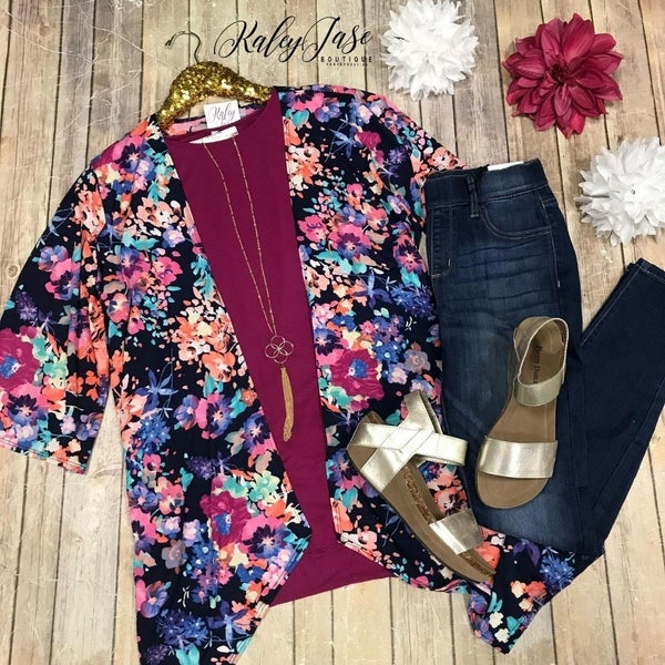 Navy Bright Floral Cardigan