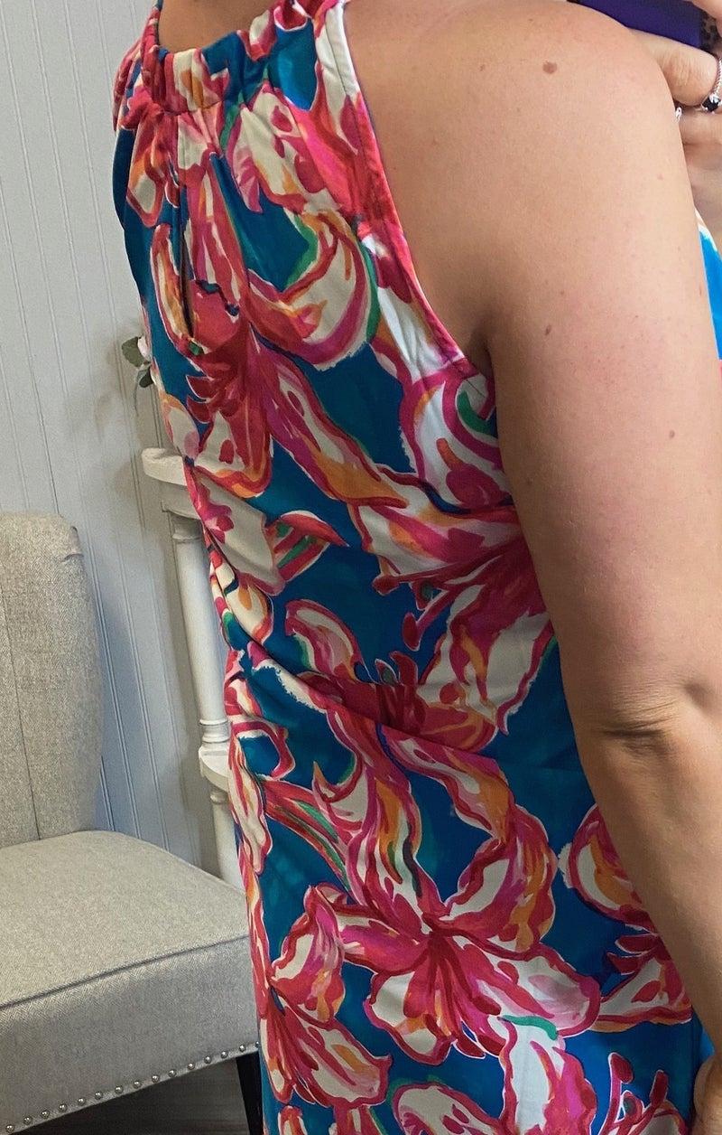 Aryeh Teal Fuchsia Floral Keyhole Dress