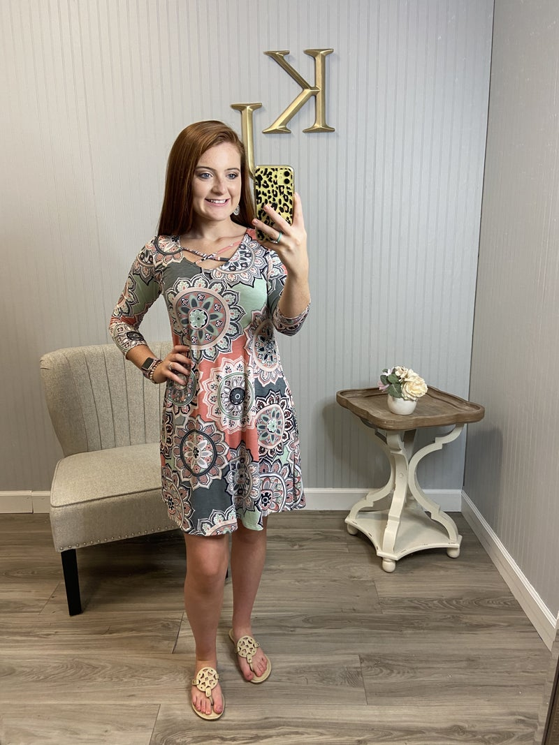 Grey Coral Flower Print Criss Cross Dress