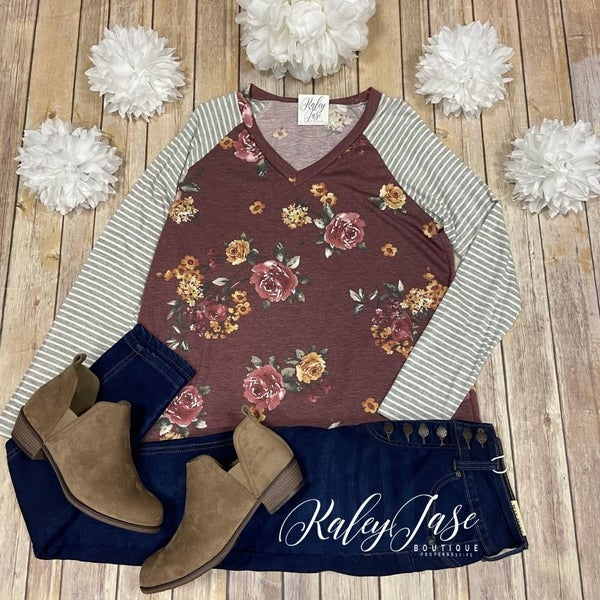 SIL Burgundy Floral Raglan Stripe Sleeve Top *Final Sale*