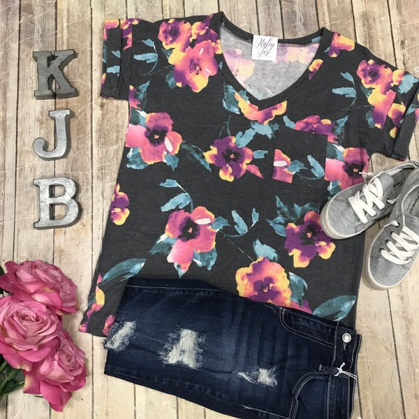 Charcoal Floral Pocket Tee