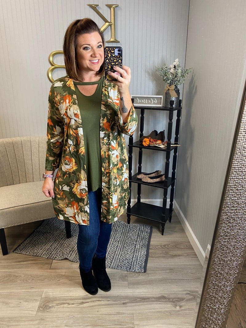 Olive Floral Watercolor Cardigan