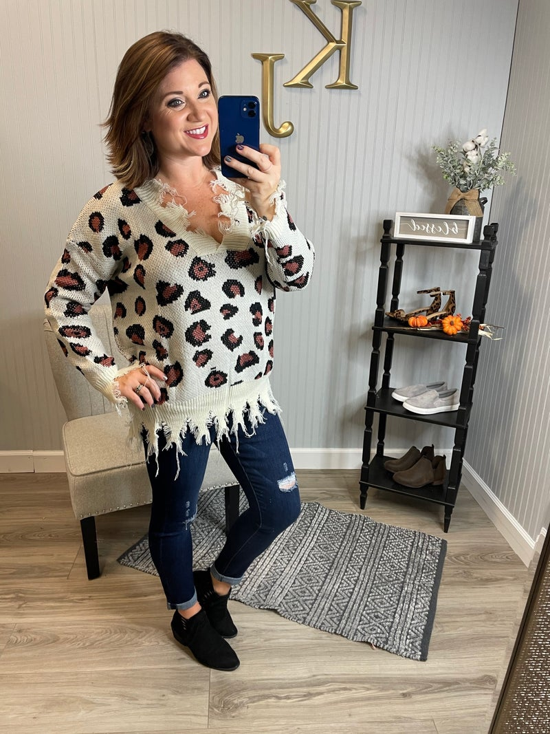 Ivory Leopard Distressed Sweater