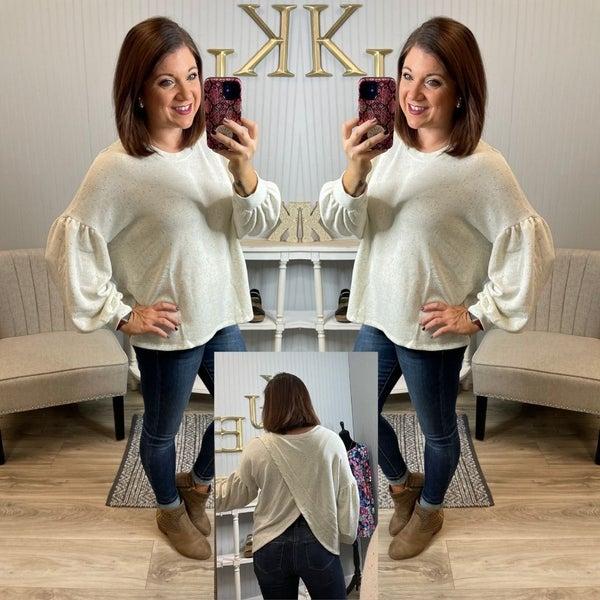 Ivory Confetti Open Back Sweater