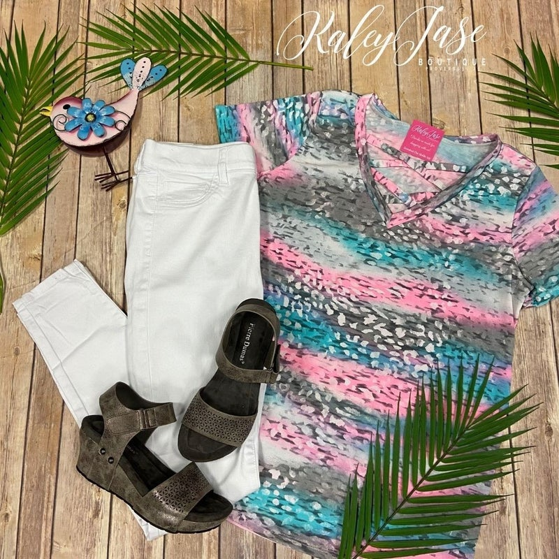 SIL Mint Neon Ombre Cross Over Top