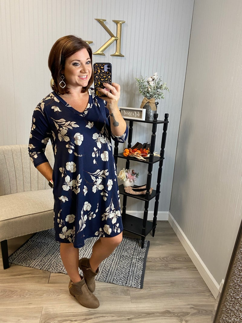 SIL Navy Floral Vneck Dress