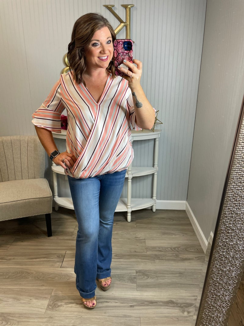 Deal Vertical Striped Draped Top